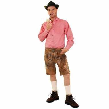 Goedkope oktoberfest tiroler blouse rood/wit geblokt heren