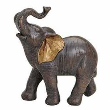 Goedkope olifant dieren beeldje bruin polystone
