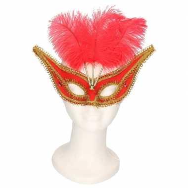 Goedkope oogmasker rood/goud veren volwassenen