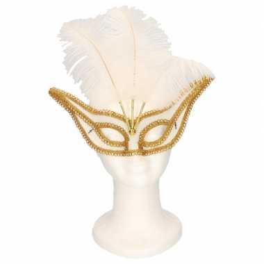 Goedkope oogmasker wit/goud veren volwassenen