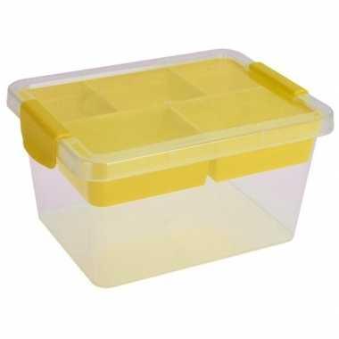 Goedkope opbergbox/sorteerdoos vaks tray geel