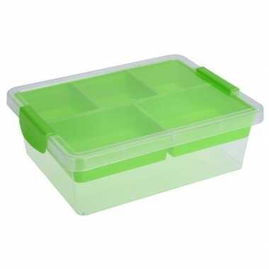 Goedkope opbergbox/sorteerdoos vaks tray groen