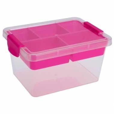 Goedkope opbergbox/sorteerdoos vaks tray roze