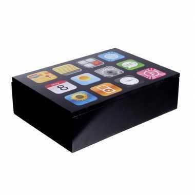Goedkope opbergkistje/opbergbox smartphone apps opdruk