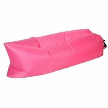 Goedkope opblaasbaar loungebed/luchtbed roze