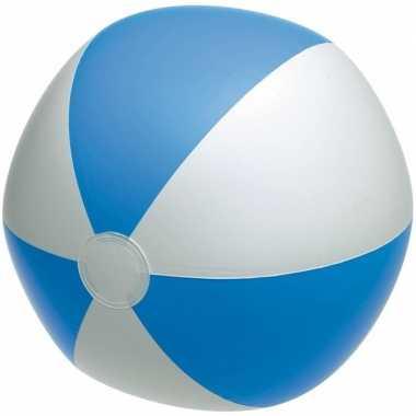 Goedkope opblaasbare strandbal blauw/wit
