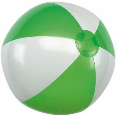 Goedkope opblaasbare strandbal groen/wit