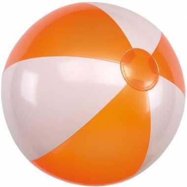 Goedkope opblaasbare strandbal oranje/wit