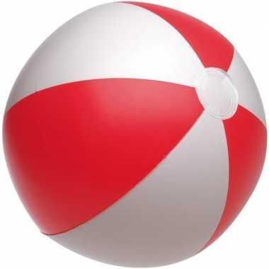 Goedkope opblaasbare strandbal rood/wit