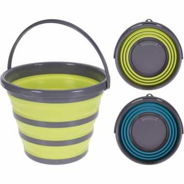 Goedkope opvouwbare emmer geel/grijs liter