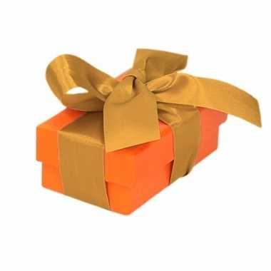 Goedkope oranje cadeaudoosje gouden strik