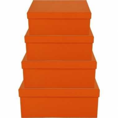 Goedkope oranje cadeaudoosje rechthoekig