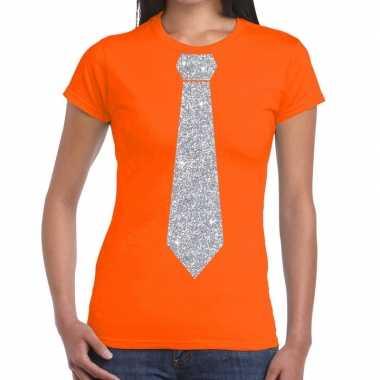 Goedkope oranje fun t shirt stropdas glitter zilver dames