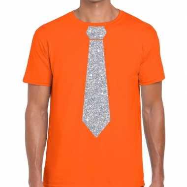 Goedkope oranje fun t shirt stropdas glitter zilver heren