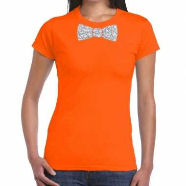 Goedkope oranje fun t shirt vlinderdas glitter zilver dames