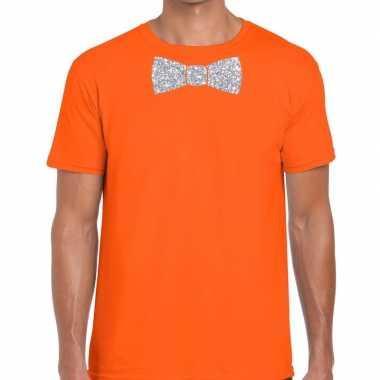 Goedkope oranje fun t shirt vlinderdas glitter zilver heren