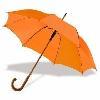 Goedkope oranje paraplu houten handvat