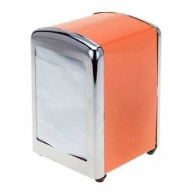 Goedkope oranje servethouder/ servetten dispenser