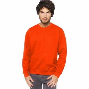 Goedkope oranje sweater/trui katoenmix heren