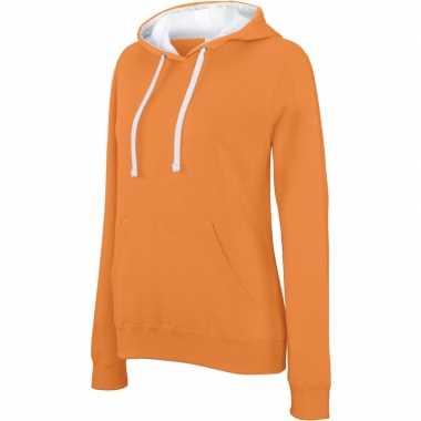 Goedkope oranje/witte sweater/trui hoodie dames