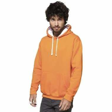 Goedkope oranje/witte sweater/trui hoodie heren