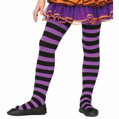 Goedkope paars/zwart gestreepte panty denier meisjes