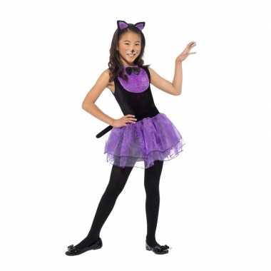 Goedkope paars/zwarte kat/poes kostuum meiden