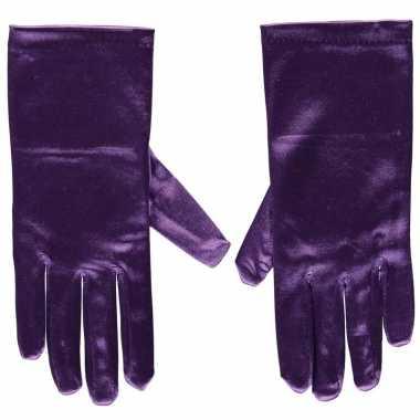 Goedkope paarse gala handschoenen kort satijn