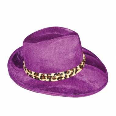 Goedkope paarse gangster hoed volwassenen