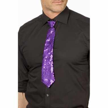 Goedkope paarse glitter stropdas verkleedaccessoire dames/heren