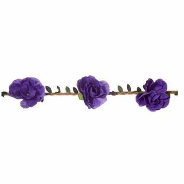 Goedkope paarse rozen festival/hippie haarband dames