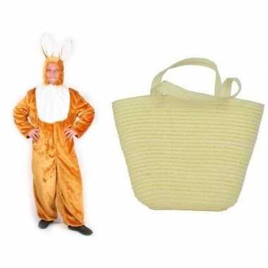 Goedkope paashaas kostuum maat xl/xl paasmandje volwassenen
