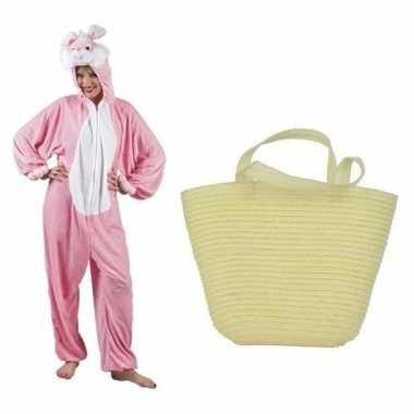 Goedkope paashaas kostuum roze paasmandje dames