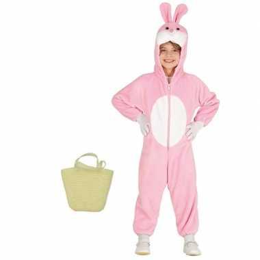 Goedkope paashaas kostuum roze paasmandje kinderen maat