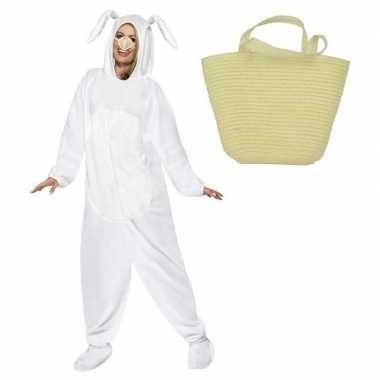 Goedkope paashaas kostuum wit maat l paasmandje volwassenen