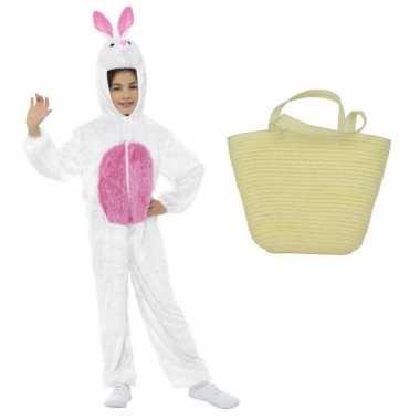 Goedkope paashaas kostuum wit maat s paasmandje kinderen