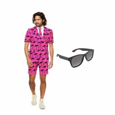 Goedkope palmbomen zomer heren kostuum maat (m) gratis zonnebril