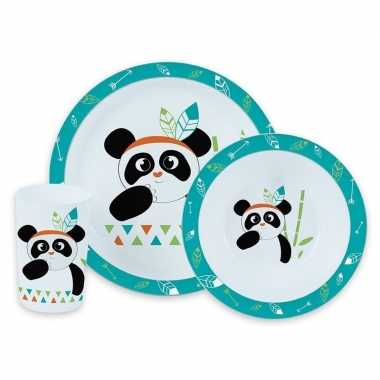 Goedkope panda thema plastic kinderservies set bord/kom/beker
