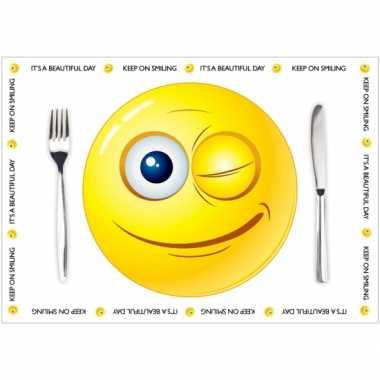 Goedkope papieren placemats smiley thema stuks