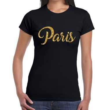 Goedkope paris gouden glitter tekst t shirt zwart dames