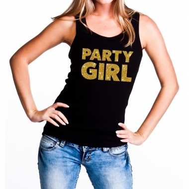 Goedkope party girl glitter tanktop / mouwloos shirt zwart dames