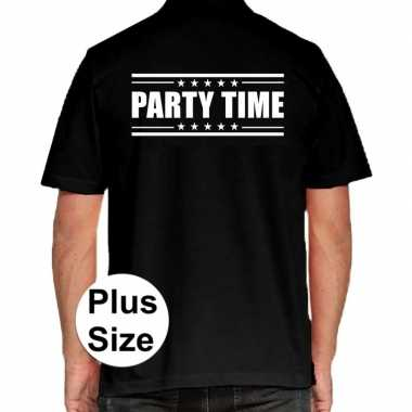 Goedkope party time grote maten poloshirt zwart heren