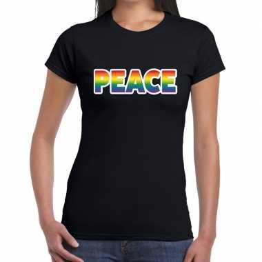 Goedkope peace gay pride t shirt zwart dames
