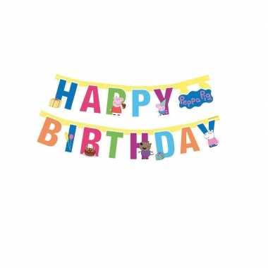 Goedkope peppa pig feest wenslijn/letterslinger happy birthday