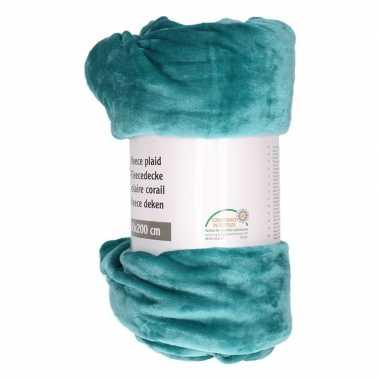 Goedkope petrol groene fleece deken