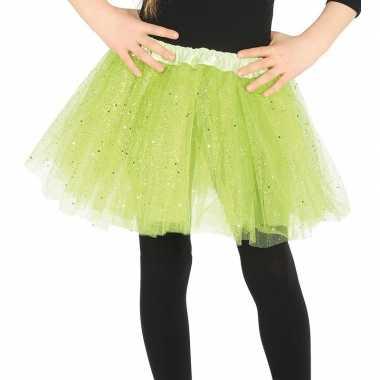 Goedkope petticoat/tutu verkleed rokje lime groen glitters meisjes