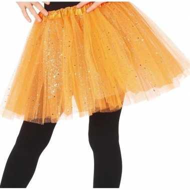 Goedkope petticoat/tutu verkleed rokje oranje glitters meisjes