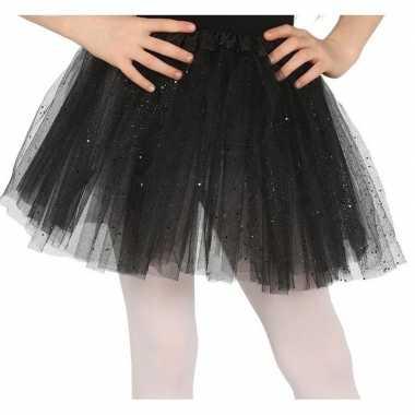 Goedkope petticoat/tutu verkleed rokje zwart glitters meisjes