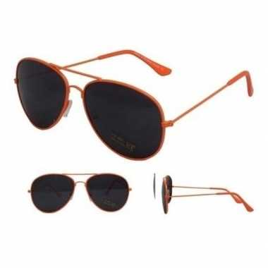 Goedkope pilotenbril neon oranje zwarte glazen volwassenen