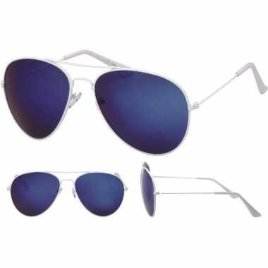 Goedkope pilotenbril wit blauwe glazen volwassenen